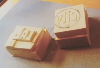 CityLab seed bomb stamp for branding clay seed bombs.